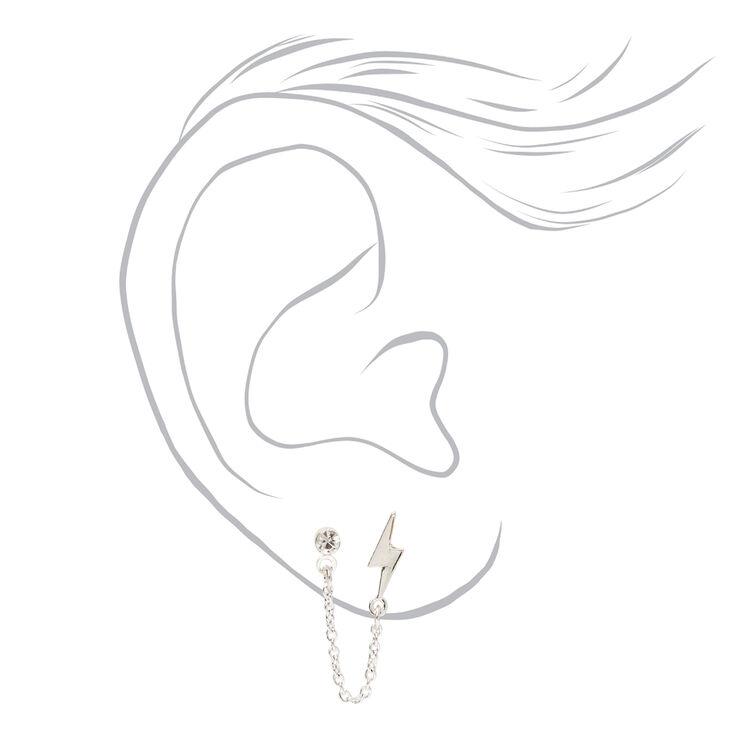 Silver Lightning Bolt Connector Chain Stud Earrings,