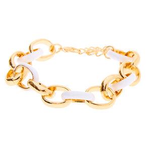 Gold Enamel Link Chain Bracelet - White,