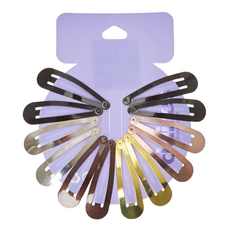 Mixed Metallic Snap Hair Clips - 12 Pack,