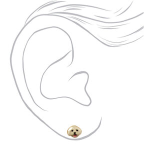 Gold White Dog Stud Earrings,