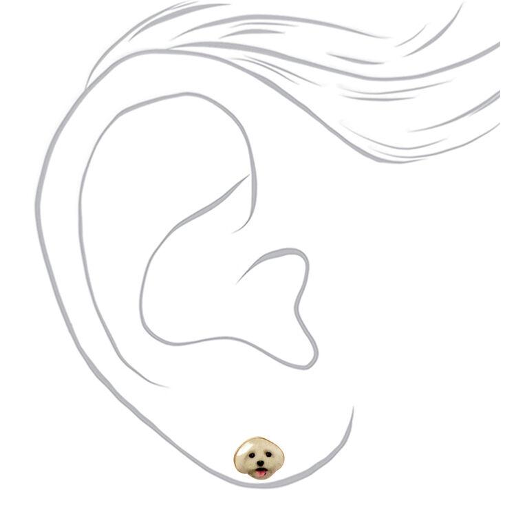 Gold White Dog Stud Earrings,