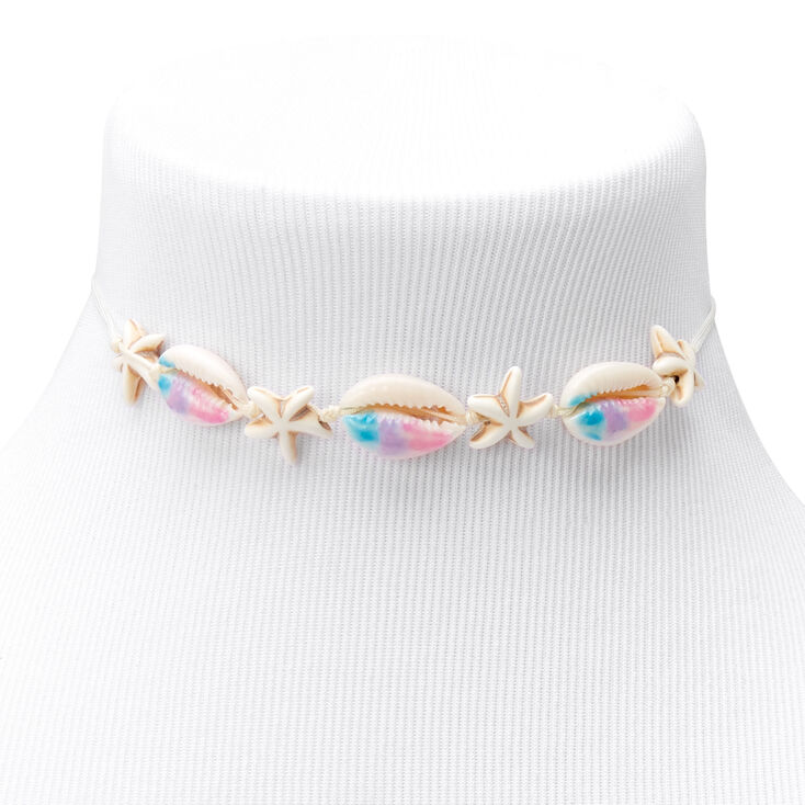 Ombre Mermaid Cowrie Shell Choker Necklace,