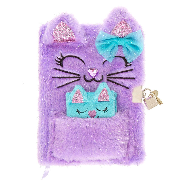Glitter Kitty Plush Lock Diary Set - Purple, 2 Pack,