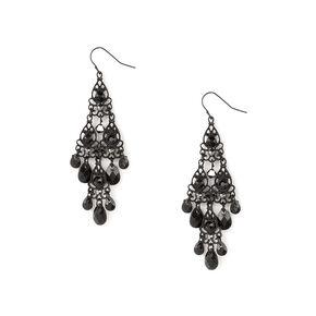 """2.5"""" Vintage Chandelier Drop Earrings - Black,"""