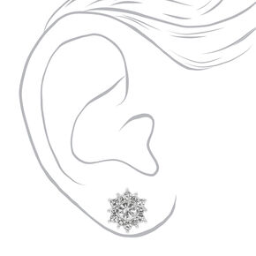 Silver Crystal Pearl Stud Earrings - White, 6 Pack,