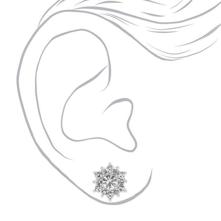 Silver Crystal Pearl Stud Earrings - White, 6 Pack,