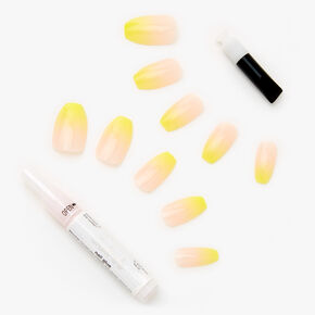 Citron Yellow Ombre Coffin Faux Nails - 24 Pack,