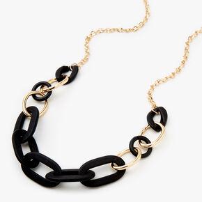 Collier maillons de chaîne noirs mats et couleur dorée,