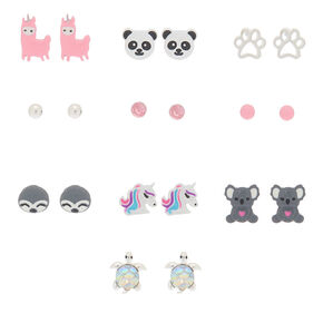 Adorable Animal Stud Earrings - Pink, 10 Pack,