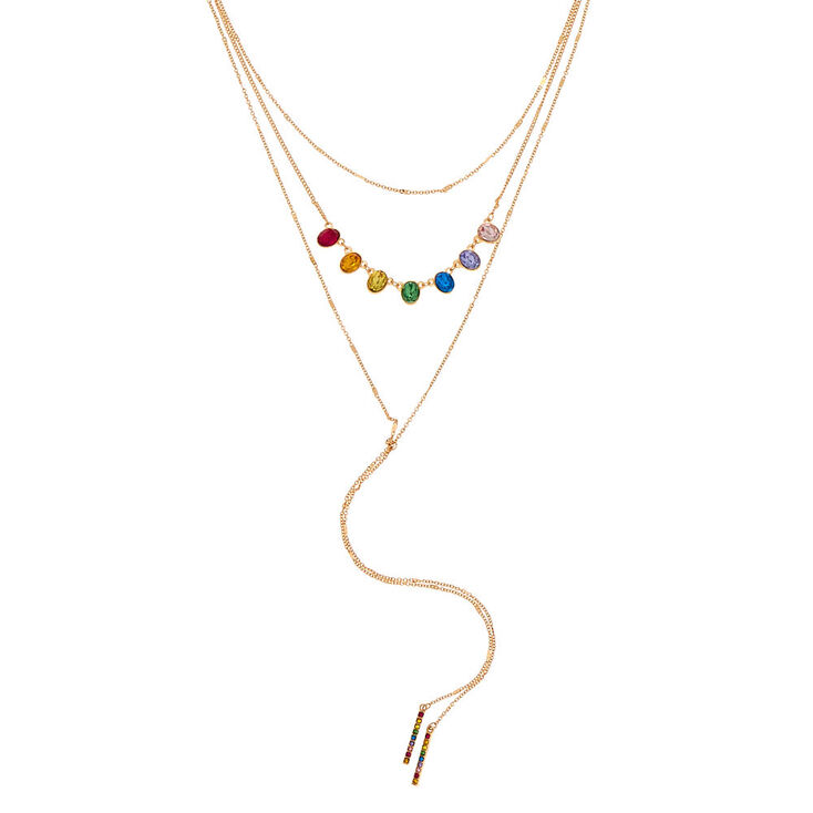 a7d2cadb65d578 Gold Rainbow Stone Multi Strand Necklace | Claire's