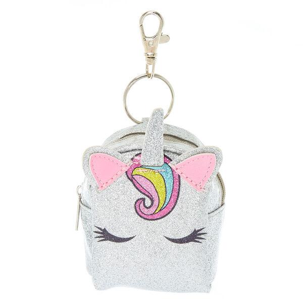 Claire's - unicorn glitter mini backpack keyring - 1