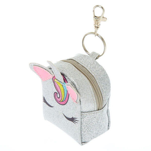 Claire's - unicorn glitter mini backpack keyring - 2