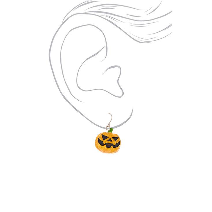 """1"""" Glitter Pumpkin Drop Earrings,"""