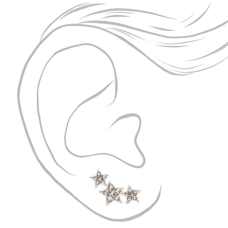 Bijoux d'oreilles avec trio d'étoiles en strass,