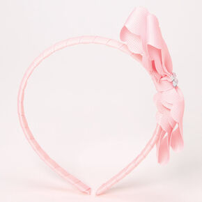 Claire's Club Scalloped Bow Headband - Pink,