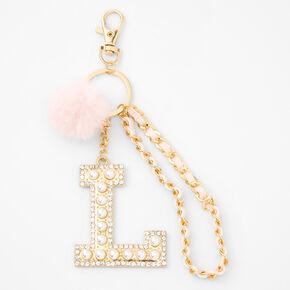 Gold Bling Initial Pom Pom Keyring - Pink, L,
