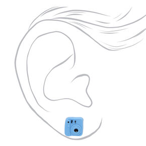 Camera Stud Earrings - Blue,