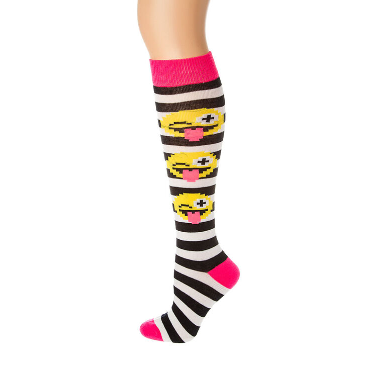 d7d447a70 Black  amp  White Stripe Pixel Emoji Knee Socks