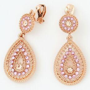 """Rose Gold 2"""" Teardrop Clip On Drop Earrings - Pink,"""