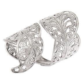 Silver Filigree Leaf Wrap Ring,