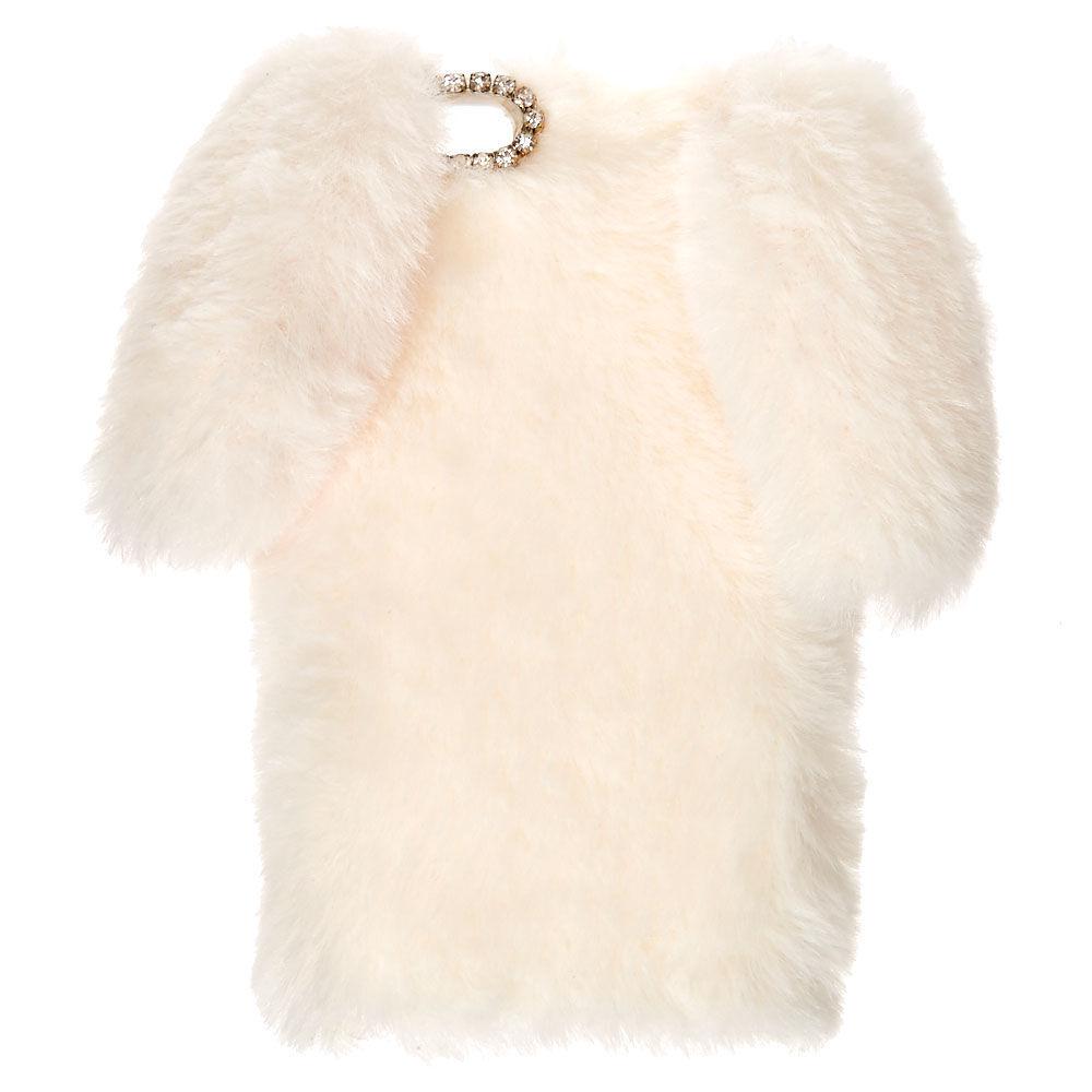 Coque de portable lapin blanc en fausse fourrure - Compatible avec iPhone 6/7/8