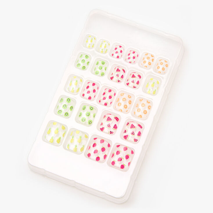 Tropical Fruit Square Press On Faux Nail Set - Clear, 24 Pack,