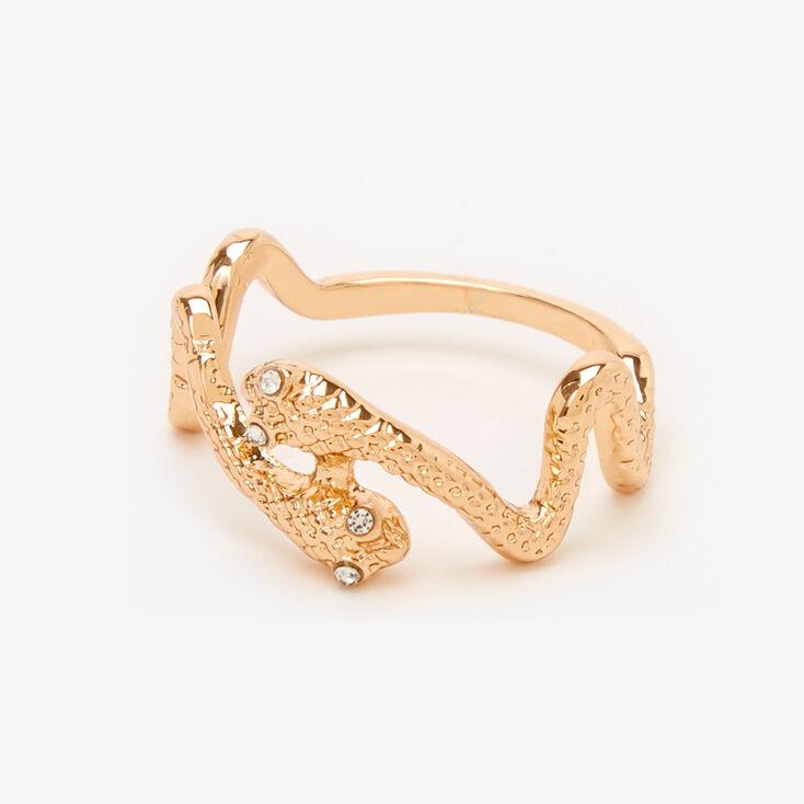 Gold Textured Snake Ring,