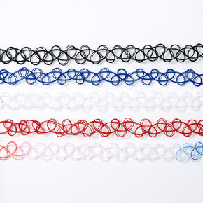 Fourth of July Tattoo Choker Necklaces - 5 Pack,