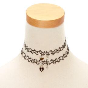 Best Friends Mood Lock & Key Tattoo Choker Necklaces - 2 Pack,