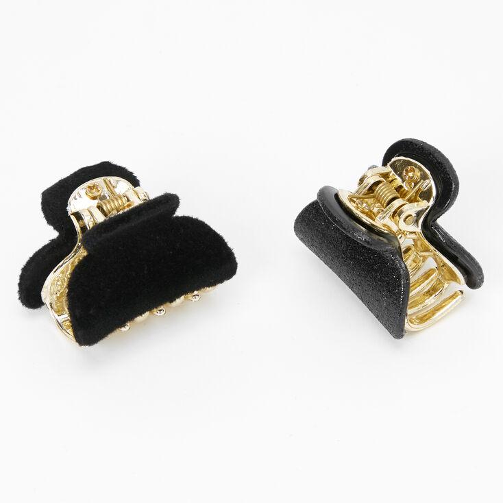 Glitter Velvet Mini Hair Claws - Black, 2 Pack,