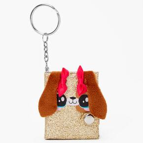 Porte-clés mini journal chiot à paillettes - Couleur dorée,