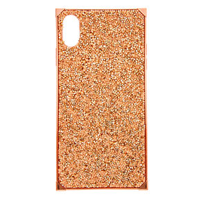Rose Gold Glitter Square Phone Case - Fits iPhone XS Max,