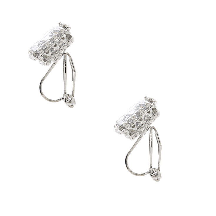 Silver Cubic Zirconia 8MM Square Clip On Stud Earrings,
