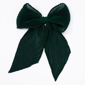 Barrette à nœud en mousseline plissée - Vert émeraude,