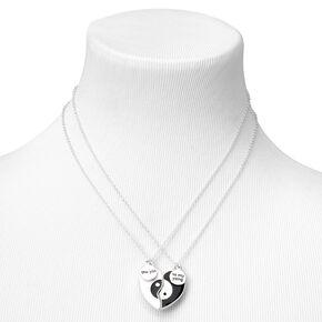 Best Friends Yin & Yang Split Heart Pendant Necklaces - 2 Pack,
