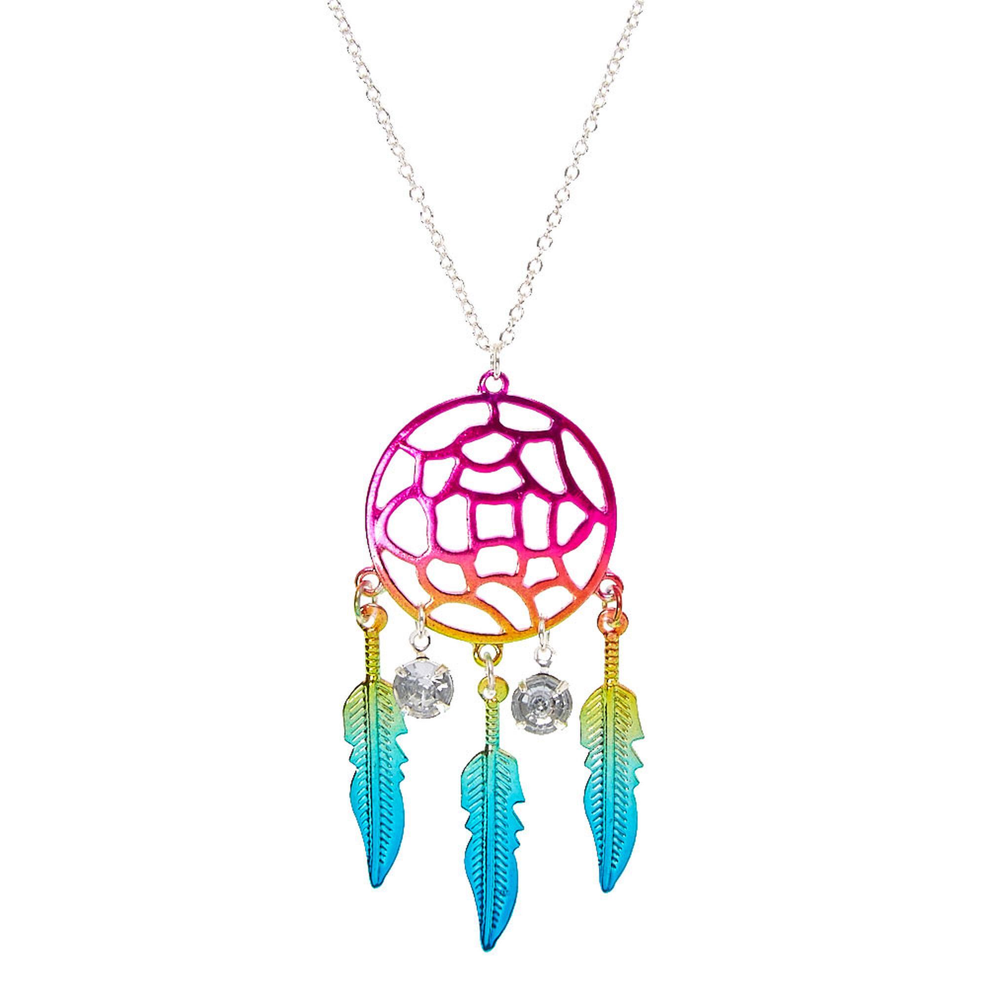 Metallic rainbow dreamcatcher pendant necklace claires ca metallic rainbow dreamcatcher pendant necklace mozeypictures Images