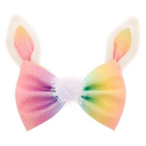 Rainbow Glitter Easter Bunny Hair Bow Clip,