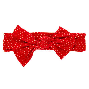Claire's Club Knotted Bow Polka Dot Headwrap - Red,