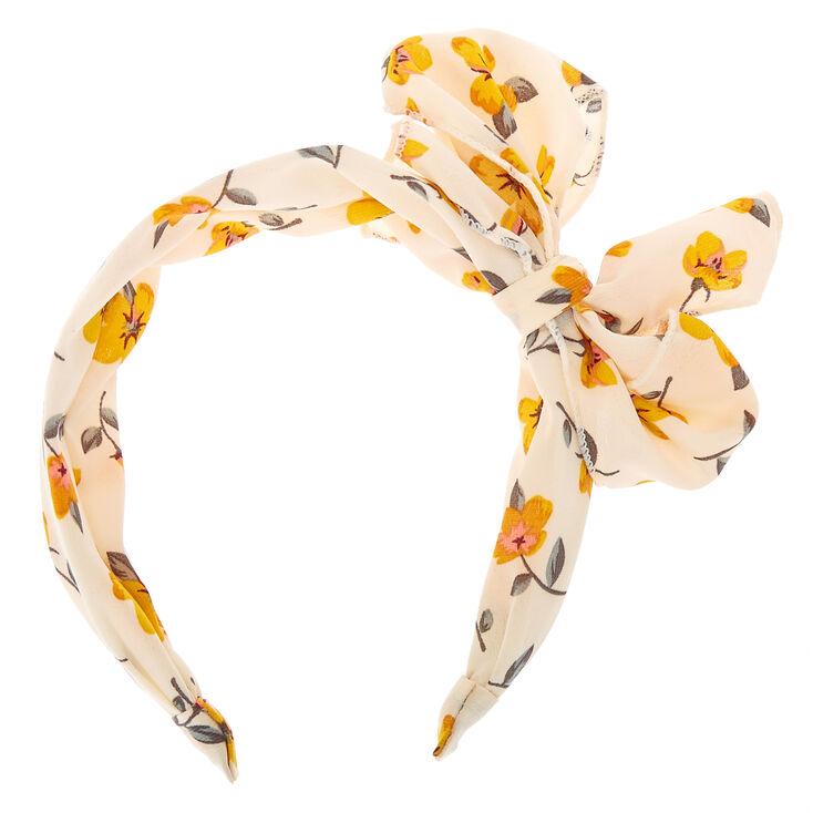 Yellow Flower Bow Headband - White,