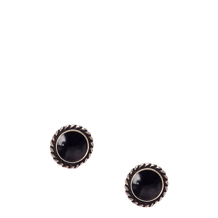 Sterling Silver Jet Black Circle Stud Earrings