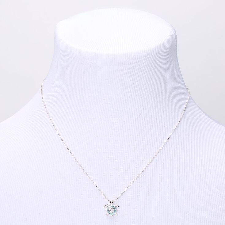 Silver Blue & Purple Embellished Turtle Pendant Necklace,