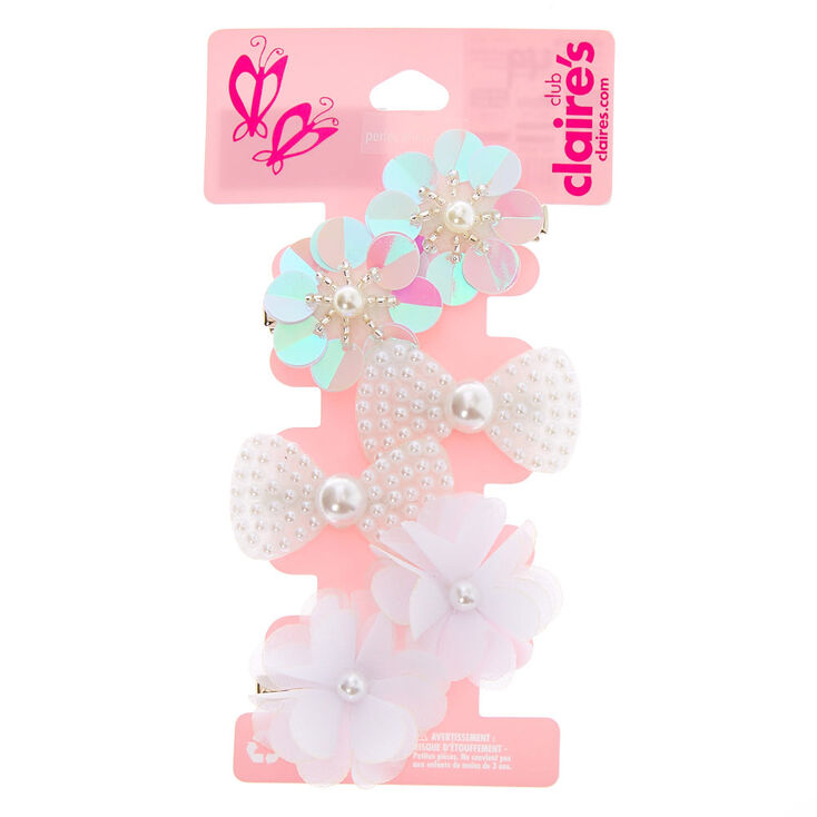 Claire's Club Peal Hair Clips - 6 Pack,