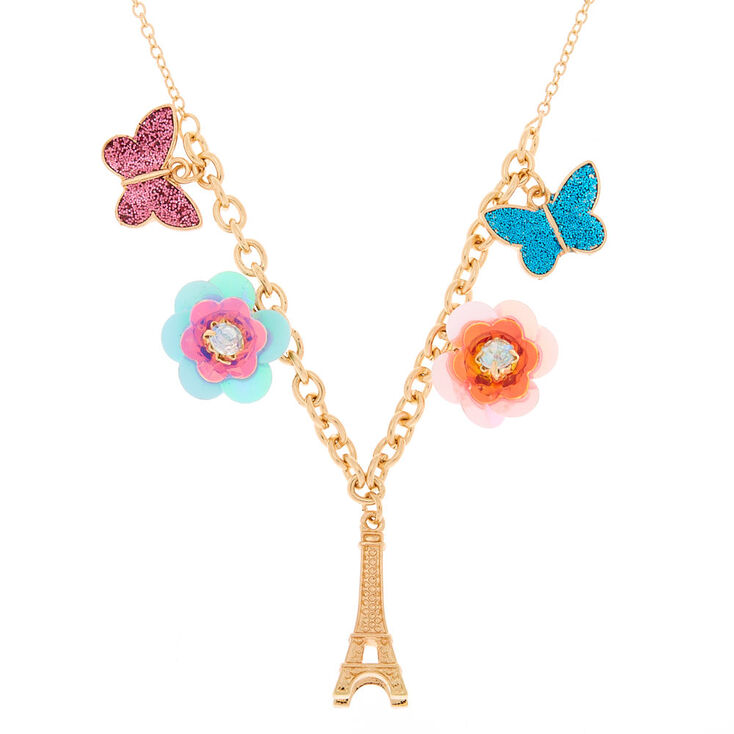 Gold Sequin Flower Paris Statement Necklace,
