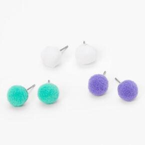 Fuzzy Pom Pom Stud Earrings - 3 Pack,