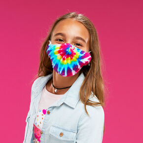 Cotton Rainbow Tie Dye Face Mask - Child Medium/Large,