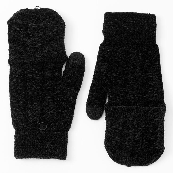 Chenille Fingerless Gloves With Mitten Flap - Black,
