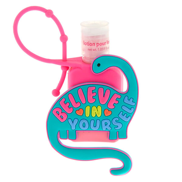 Claire's - believein yourself dinosaur holder with cherry scented hand lotion - 1