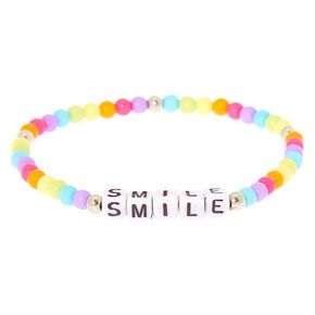 Smile Rainbow Beaded Stretch Bracelet,