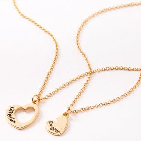 Gold Mother Daughter Cut Out Heart Pendant Necklaces - 2 Pack,