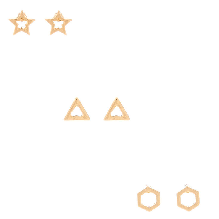 18kt Gold Plated Open Star Geometric Stud Earrings   3 Pack by Claire's